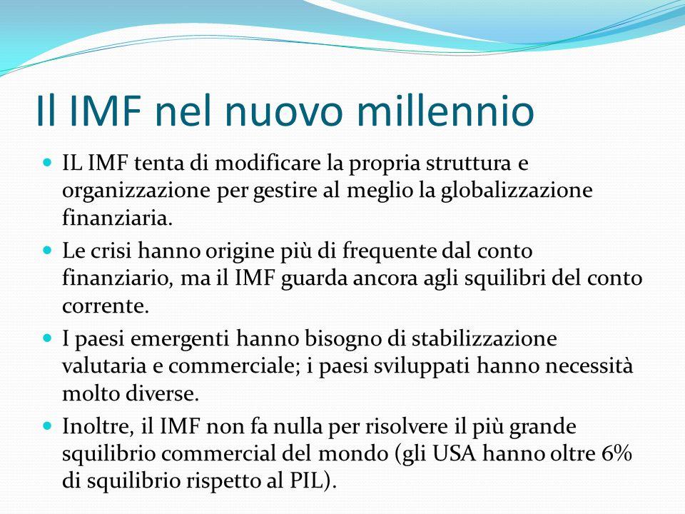 Il IMF nel nuovo millennio IL IMF tenta di modificare la propria struttura e organizzazione per gestire al meglio la globalizzazione finanziaria. Le c