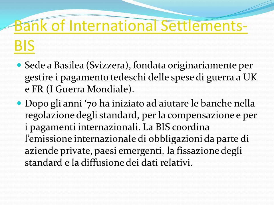 Bank of International Settlements- BIS Sede a Basilea (Svizzera), fondata originariamente per gestire i pagamento tedeschi delle spese di guerra a UK