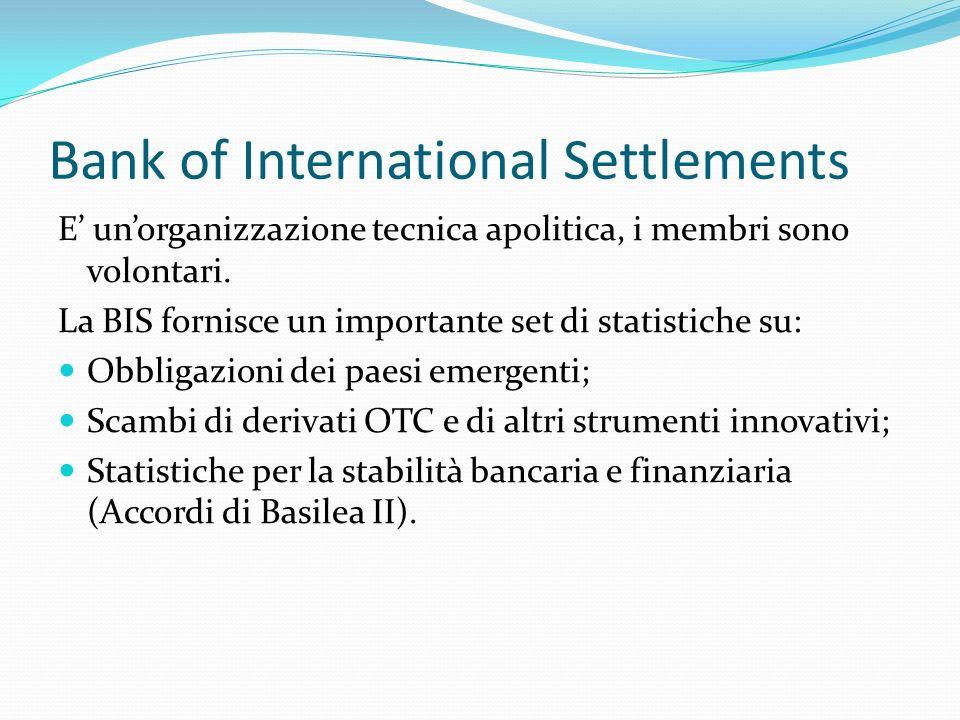 Bank of International Settlements E unorganizzazione tecnica apolitica, i membri sono volontari. La BIS fornisce un importante set di statistiche su: