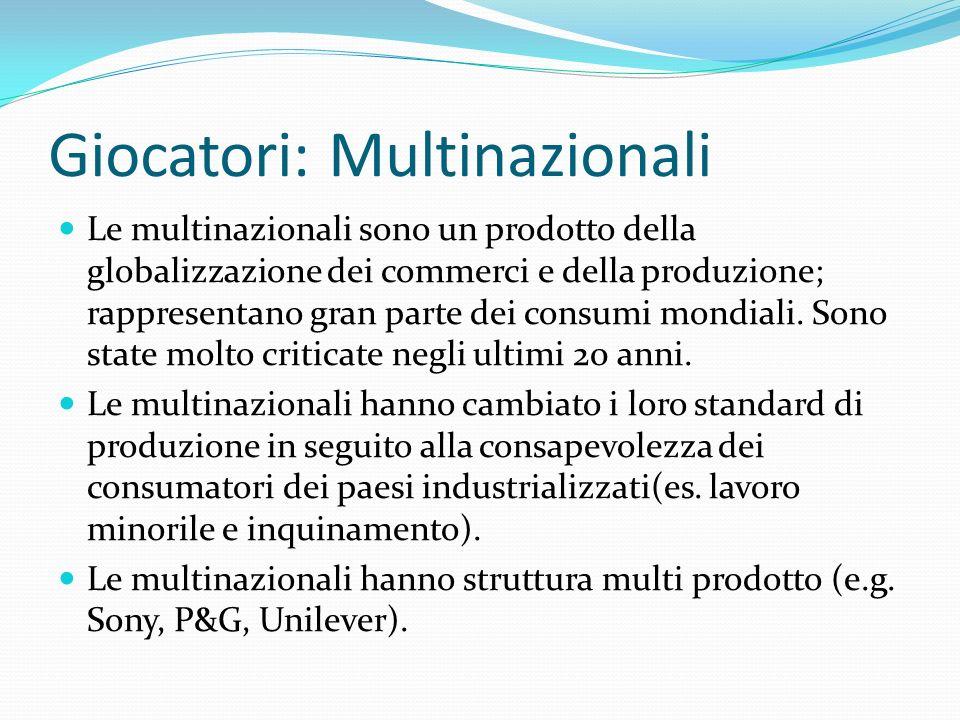 Giocatori: Multinazionali Le multinazionali sono un prodotto della globalizzazione dei commerci e della produzione; rappresentano gran parte dei consu
