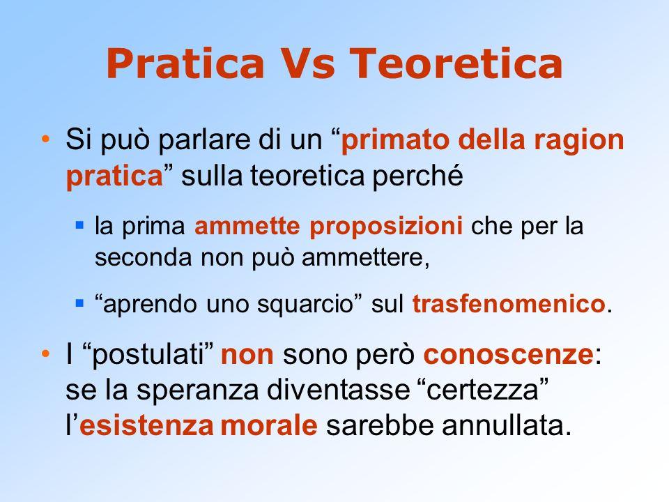 Pratica Vs Teoretica Si può parlare di un primato della ragion pratica sulla teoretica perché la prima ammette proposizioni che per la seconda non può
