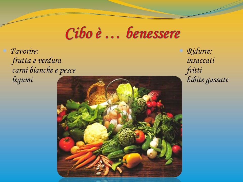 Favorire: frutta e verdura carni bianche e pesce legumi Ridurre: insaccati fritti bibite gassate
