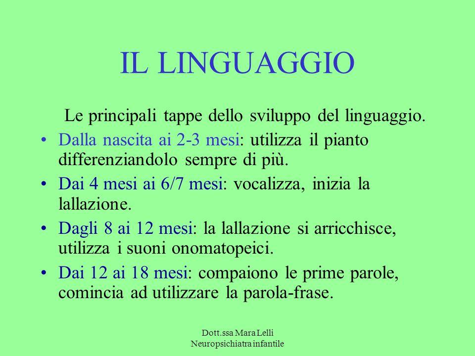 IL LINGUAGGIO Le principali tappe dello sviluppo del linguaggio. Dalla nascita ai 2-3 mesi: utilizza il pianto differenziandolo sempre di più. Dai 4 m
