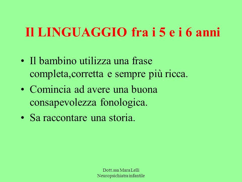 Dott.ssa Mara Lelli Neuropsichiatra infantile Il LINGUAGGIO fra i 5 e i 6 anni Il bambino utilizza una frase completa,corretta e sempre più ricca. Com