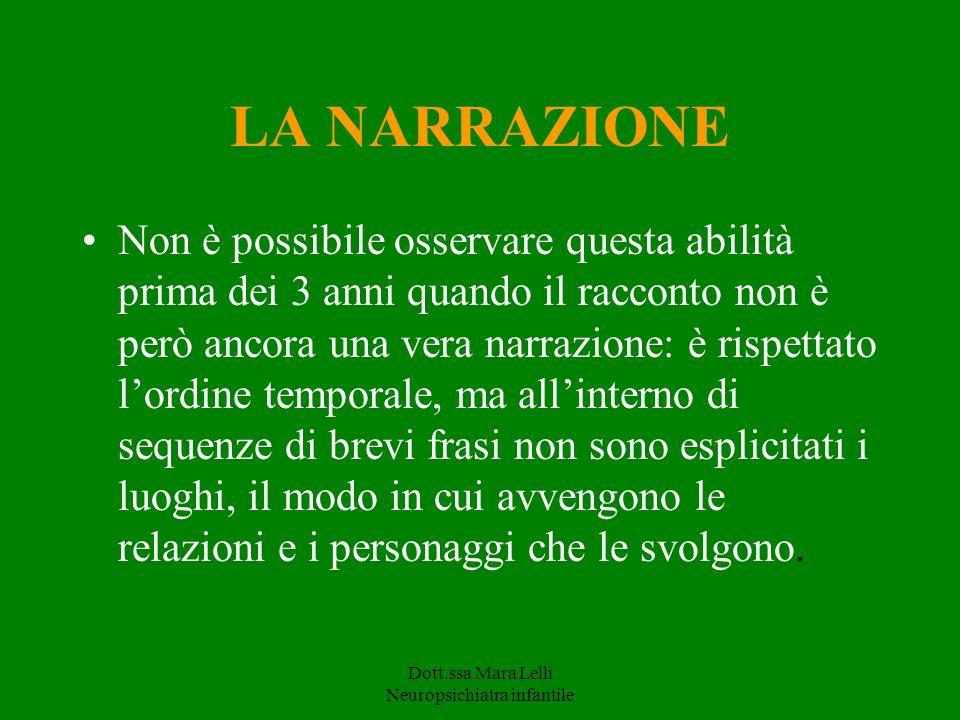 Dott.ssa Mara Lelli Neuropsichiatra infantile LA NARRAZIONE Non è possibile osservare questa abilità prima dei 3 anni quando il racconto non è però an