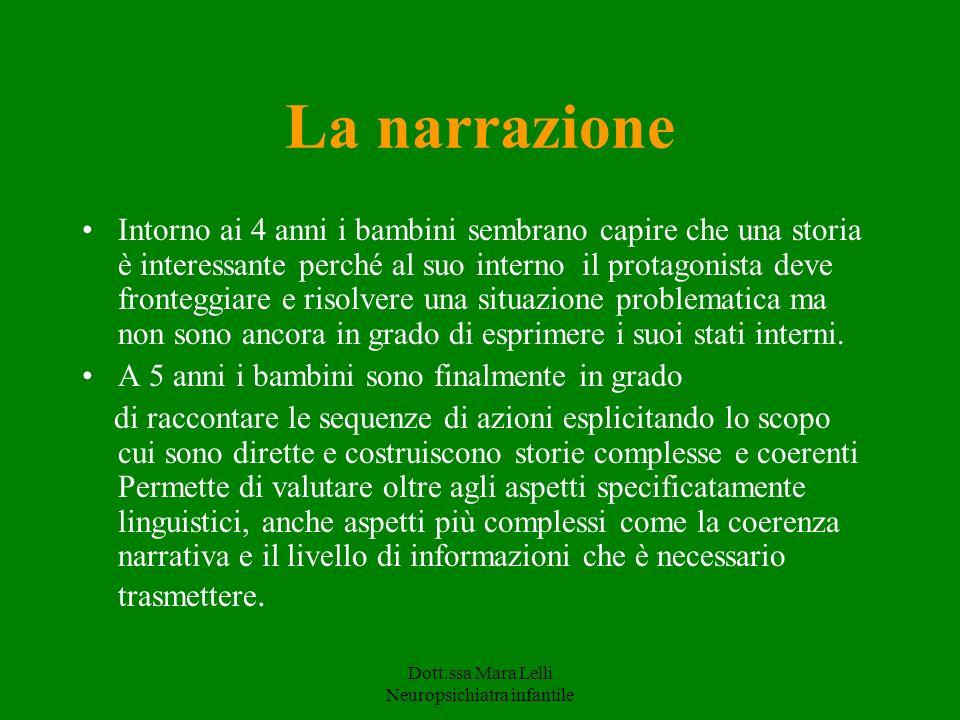 Dott.ssa Mara Lelli Neuropsichiatra infantile La narrazione Intorno ai 4 anni i bambini sembrano capire che una storia è interessante perché al suo in