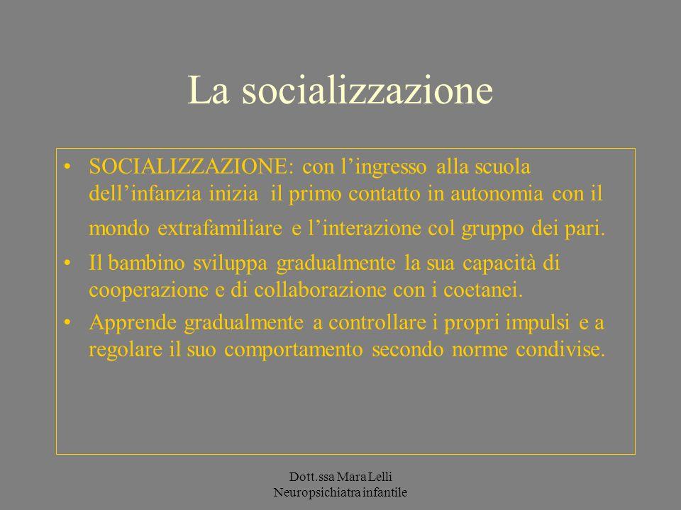 Dott.ssa Mara Lelli Neuropsichiatra infantile La socializzazione SOCIALIZZAZIONE: con lingresso alla scuola dellinfanzia inizia il primo contatto in a