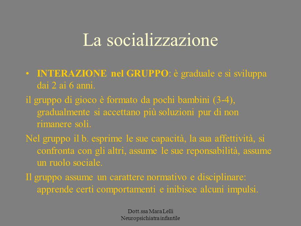 Dott.ssa Mara Lelli Neuropsichiatra infantile La socializzazione INTERAZIONE nel GRUPPO: è graduale e si sviluppa dai 2 ai 6 anni. il gruppo di gioco