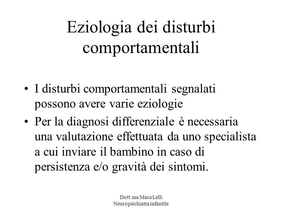Eziologia dei disturbi comportamentali I disturbi comportamentali segnalati possono avere varie eziologie Per la diagnosi differenziale è necessaria u