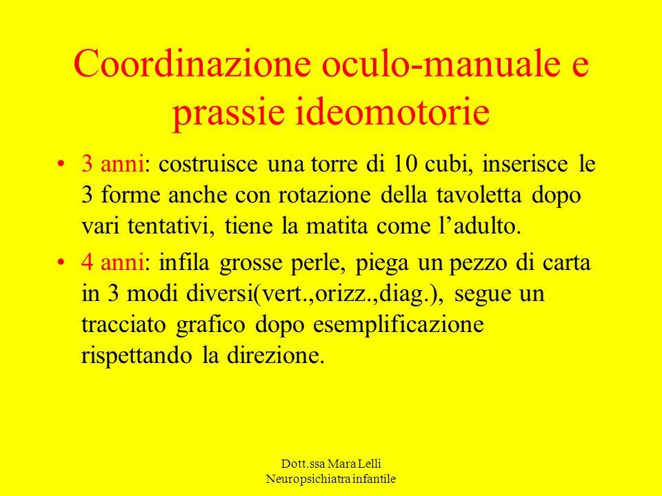 Dott.ssa Mara Lelli Neuropsichiatra infantile Coordinazione oculo-manuale e prassie ideomotorie 3 anni: costruisce una torre di 10 cubi, inserisce le