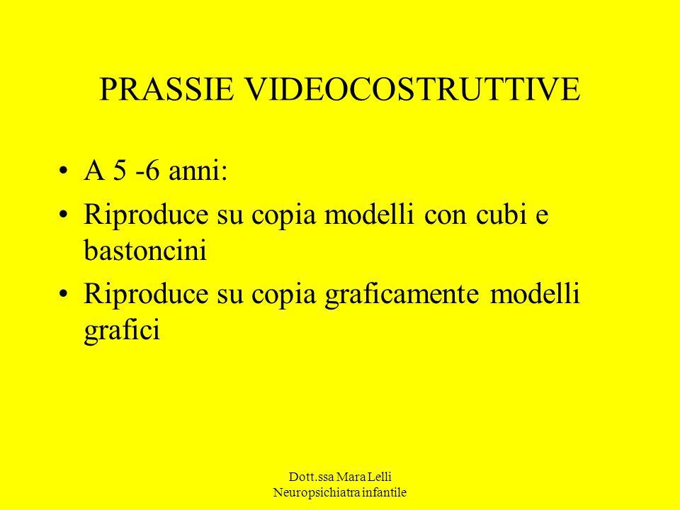 PRASSIE VIDEOCOSTRUTTIVE A 5 -6 anni: Riproduce su copia modelli con cubi e bastoncini Riproduce su copia graficamente modelli grafici Dott.ssa Mara L
