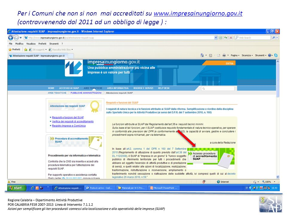 Regione Calabria – Dipartimento Attività Produttive POR CALABRIA FESR 2007-2013 Linea di Intervento 7.1.1.2 Azioni per semplificare gli iter procedura