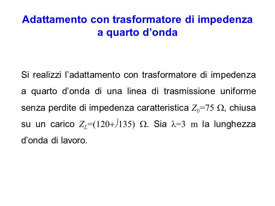 a)La lunghezza delladattatore può essere determinata immediatamente a partire dalla lunghezza donda di lavoro: b)Si normalizza limpedenza di carico: c)Si individuano sulla carta di Smith le circonferenze R i =1.6 e X i =+1.8
