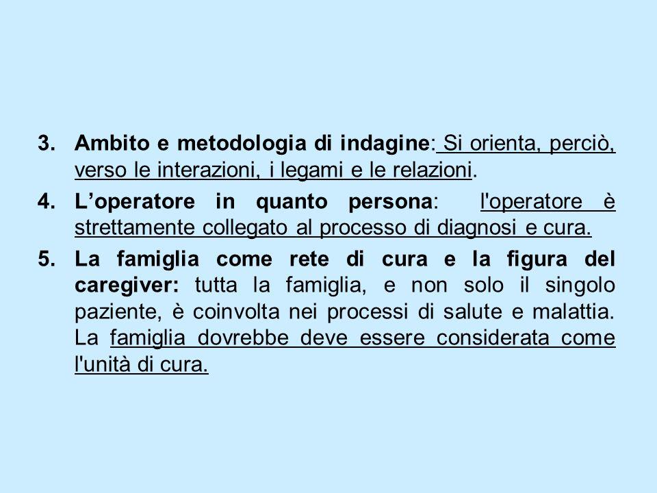 3.Ambito e metodologia di indagine: Si orienta, perciò, verso le interazioni, i legami e le relazioni. 4.Loperatore in quanto persona: l'operatore è s