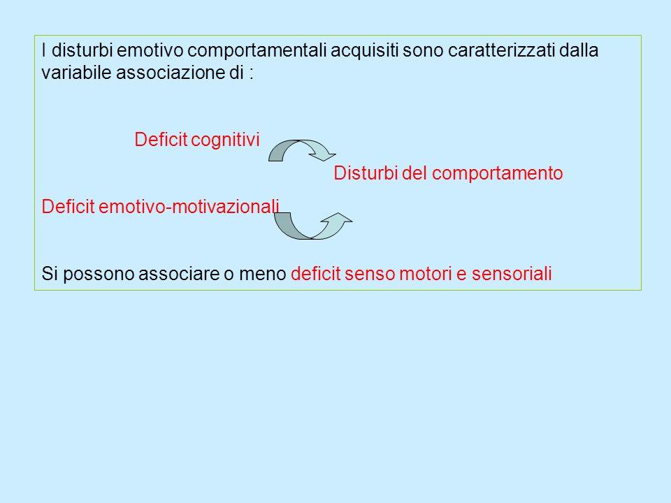 I disturbi emotivo comportamentali acquisiti sono caratterizzati dalla variabile associazione di : Deficit cognitivi Disturbi del comportamento Defici