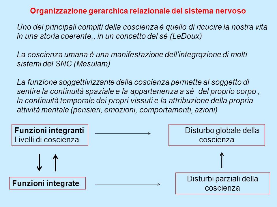 Funzioni integranti Livelli di coscienza Disturbo globale della coscienza Disturbi parziali della coscienza Funzioni integrate Organizzazione gerarchi