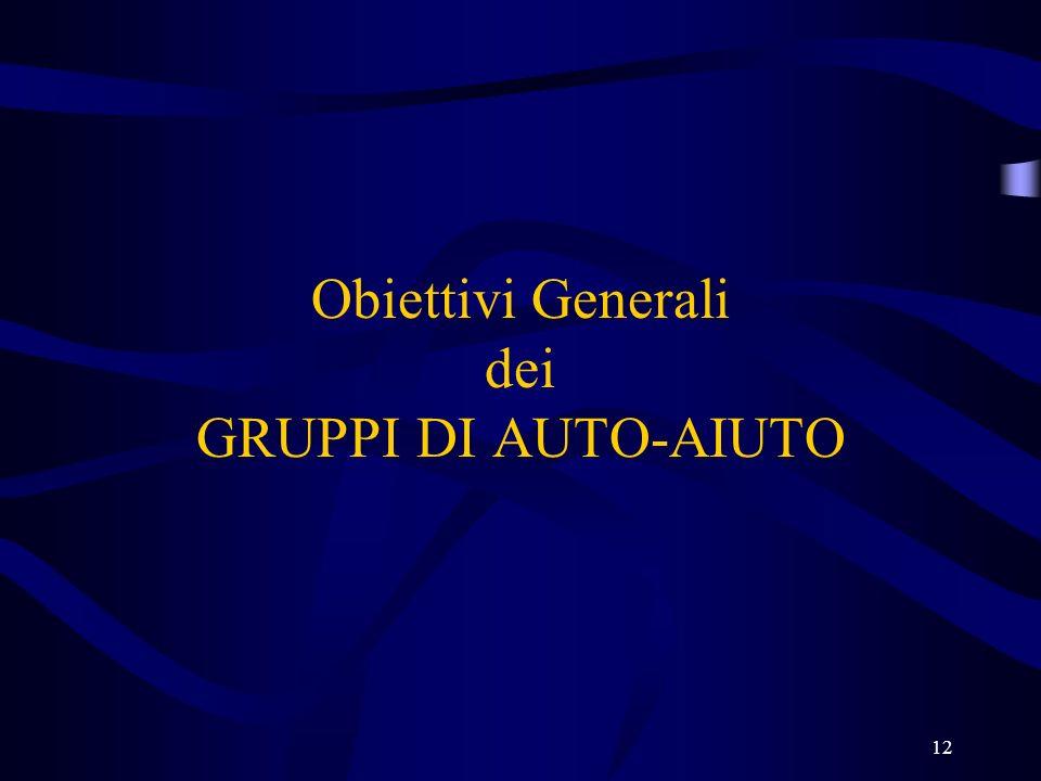 12 Obiettivi Generali dei GRUPPI DI AUTO-AIUTO
