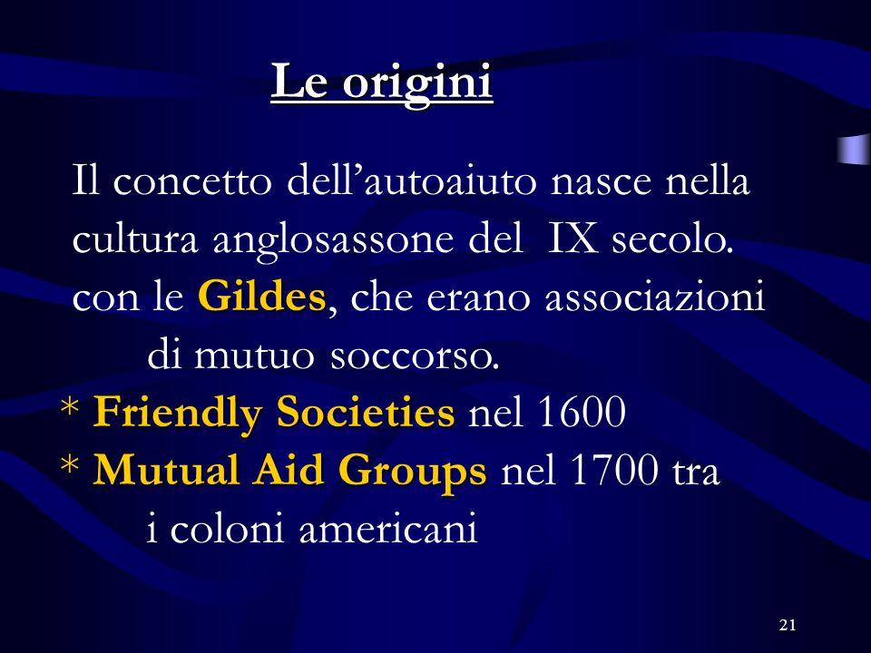 21 Le origini Il concetto dellautoaiuto nasce nella cultura anglosassone del IX secolo.