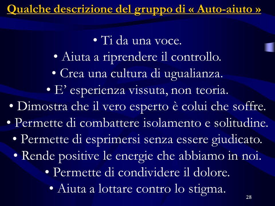28 Qualche descrizione del gruppo di « Auto-aiuto » Ti da una voce.