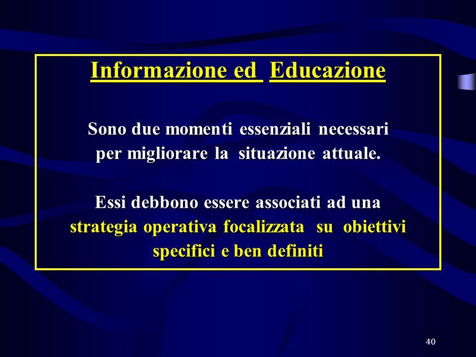 40 Informazione ed Educazione Sono due momenti essenziali necessari per migliorare la situazione attuale.