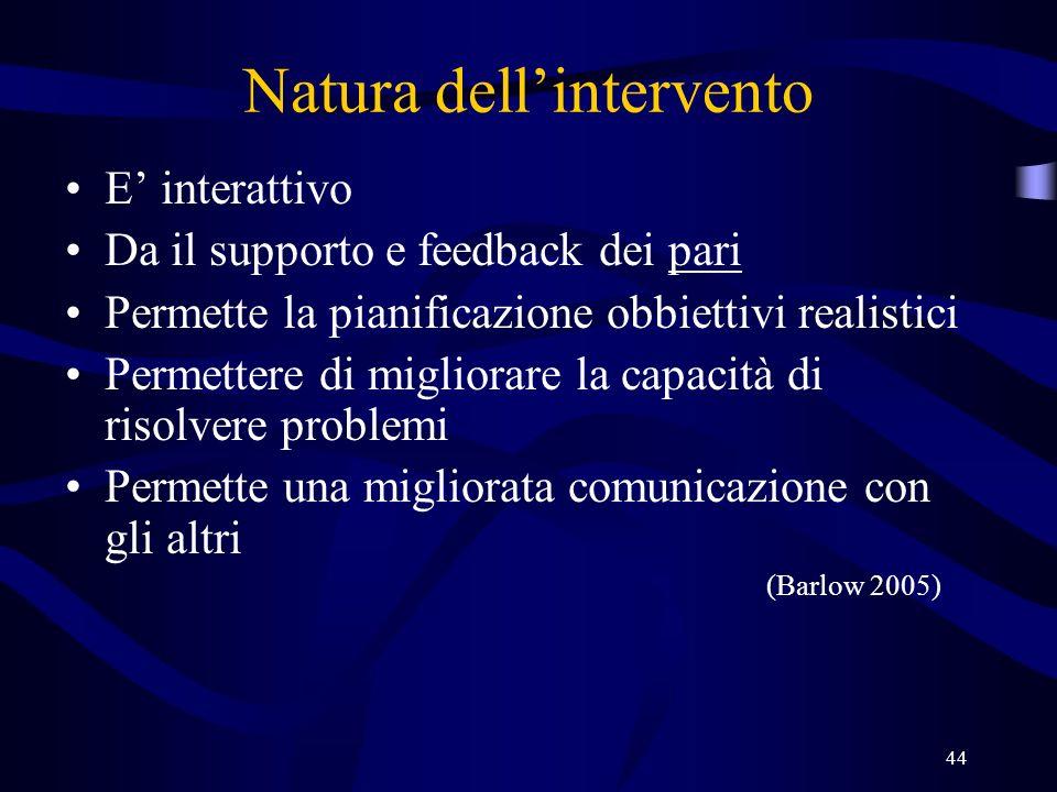44 Natura dellintervento E interattivo Da il supporto e feedback dei pari Permette la pianificazione obbiettivi realistici Permettere di migliorare la capacità di risolvere problemi Permette una migliorata comunicazione con gli altri (Barlow 2005)
