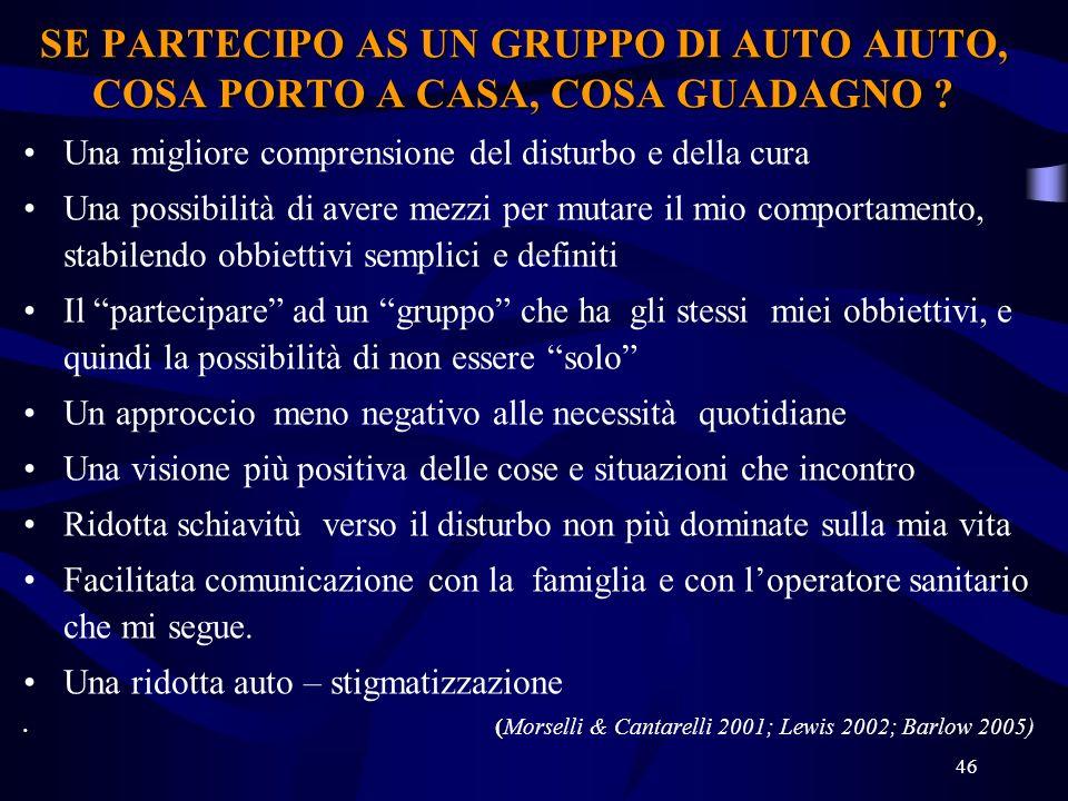 46 SE PARTECIPO AS UN GRUPPO DI AUTO AIUTO, COSA PORTO A CASA, COSA GUADAGNO .