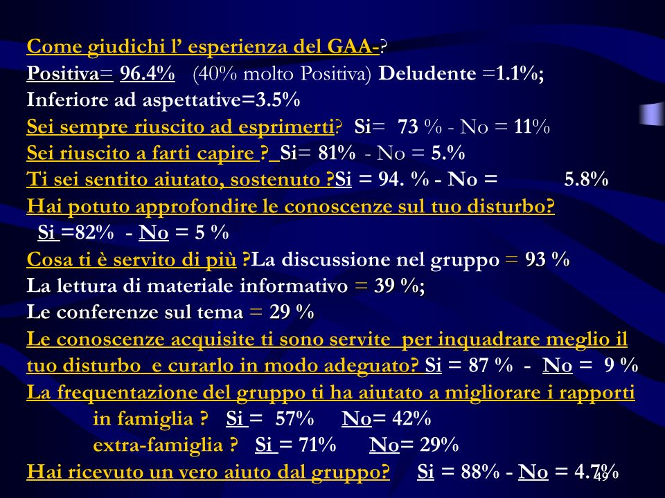 49 Come giudichi l esperienza del GAA-.