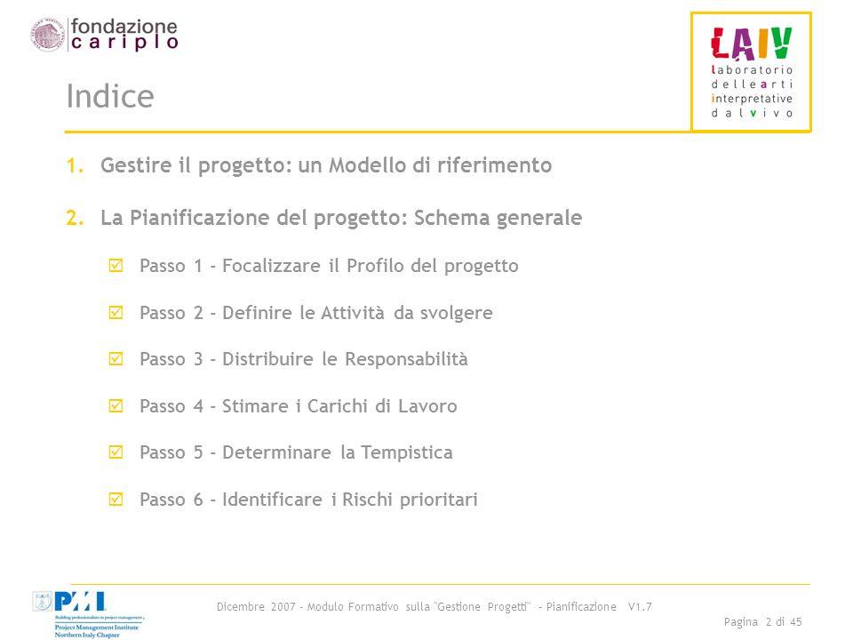 Dicembre 2007 - Modulo Formativo sulla Gestione Progetti - Pianificazione V1.7 Pagina 23 di 45 Passo 2-: Esempio di Albero di progetto 5/6