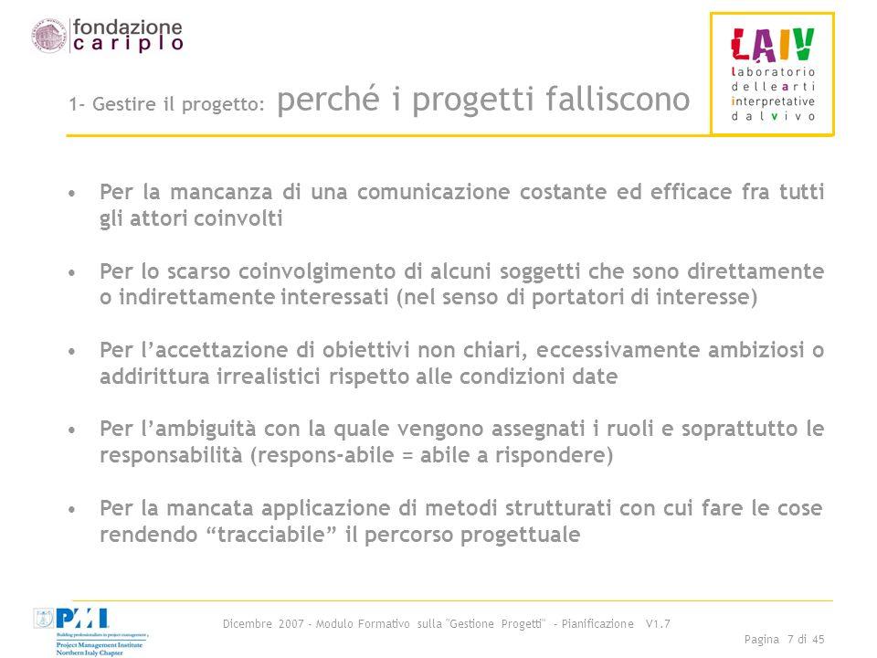 Dicembre 2007 - Modulo Formativo sulla Gestione Progetti - Pianificazione V1.7 Pagina 18 di 45 Passo 2-: Albero di progetto 2/2 Istruzioni per luso (segue): 4.