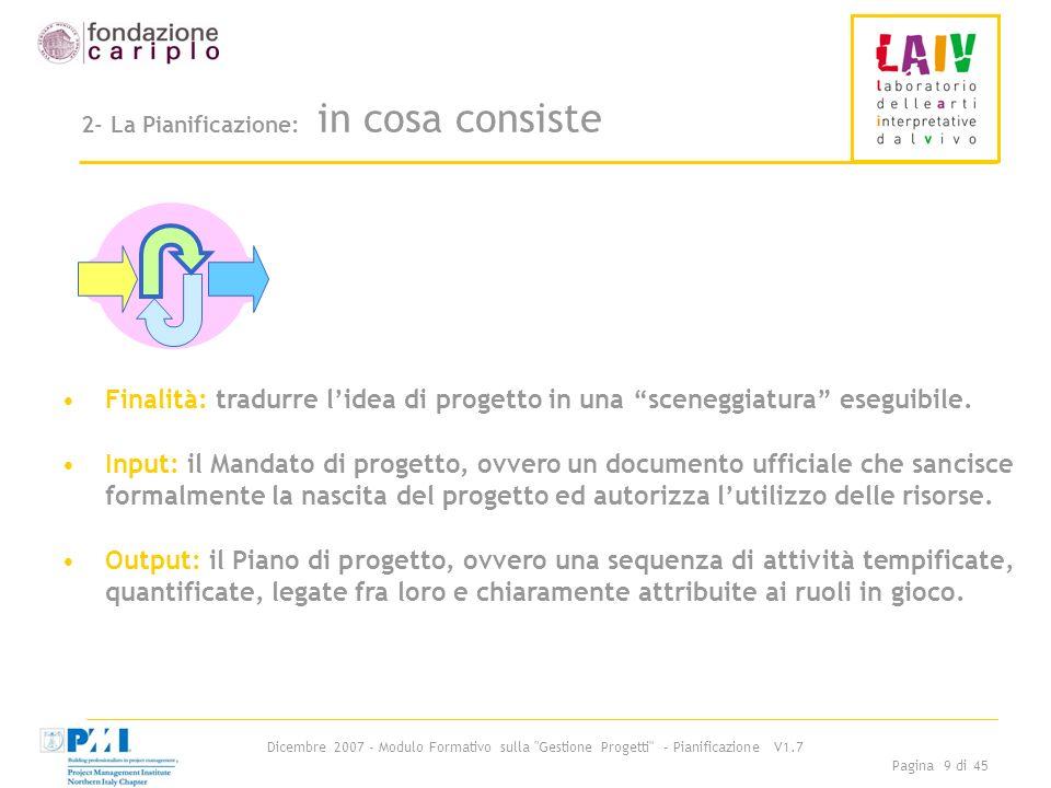 Dicembre 2007 - Modulo Formativo sulla Gestione Progetti - Pianificazione V1.7 Pagina 20 di 45 Passo 2-: Esempio di Albero di progetto 2/6 2° livello Componenti 3° livello Attività