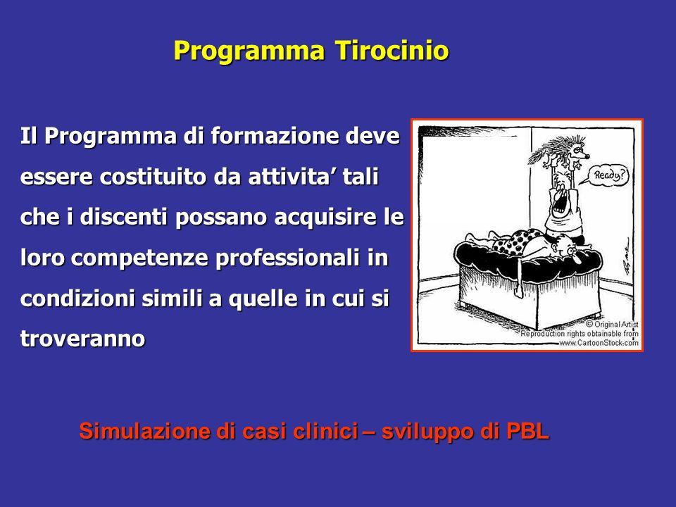Programma Tirocinio Il Programma di formazione deve essere costituito da attivita tali che i discenti possano acquisire le loro competenze professiona