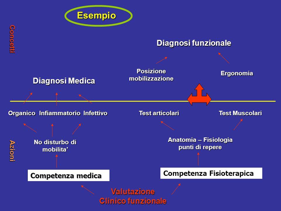 Esempio Valutazione Clinico funzionale Competenza medica Competenza Fisioterapica No disturbo di mobilita OrganicoInfiammatorioInfettivo Anatomia – Fi