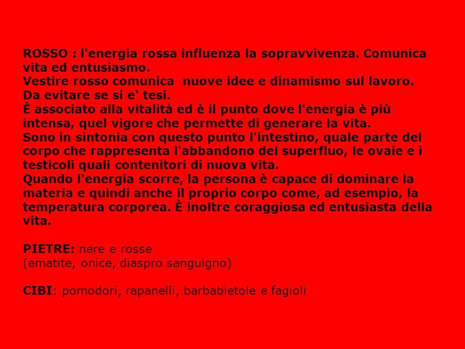 ROSSO : l'energia rossa influenza la sopravvivenza. Comunica vita ed entusiasmo. Vestire rosso comunica nuove idee e dinamismo sul lavoro. Da evitare
