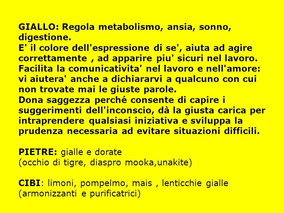 GIALLO: Regola metabolismo, ansia, sonno, digestione. E' il colore dell'espressione di se', aiuta ad agire correttamente, ad apparire piu' sicuri nel