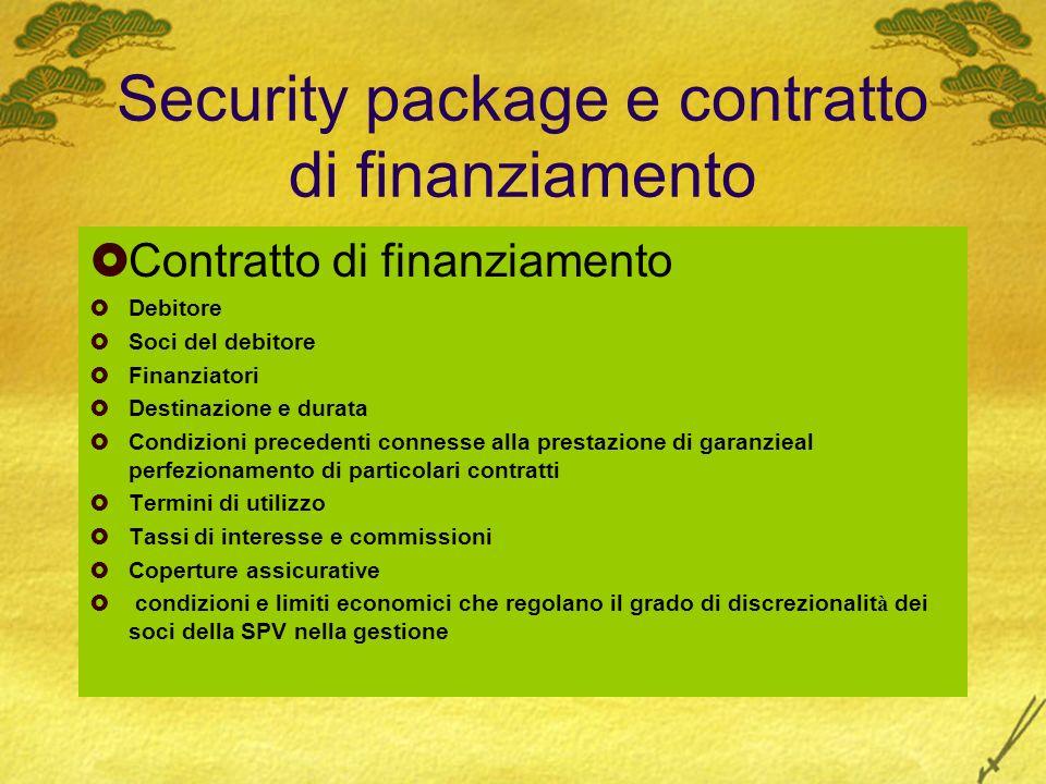 Security package e contratto di finanziamento Contratto di finanziamento Debitore Soci del debitore Finanziatori Destinazione e durata Condizioni prec