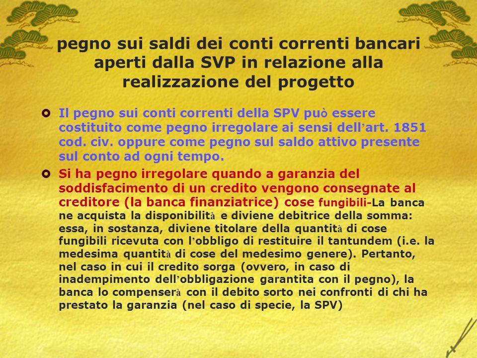 pegno sui saldi dei conti correnti bancari aperti dalla SVP in relazione alla realizzazione del progetto Il pegno sui conti correnti della SPV pu ò es