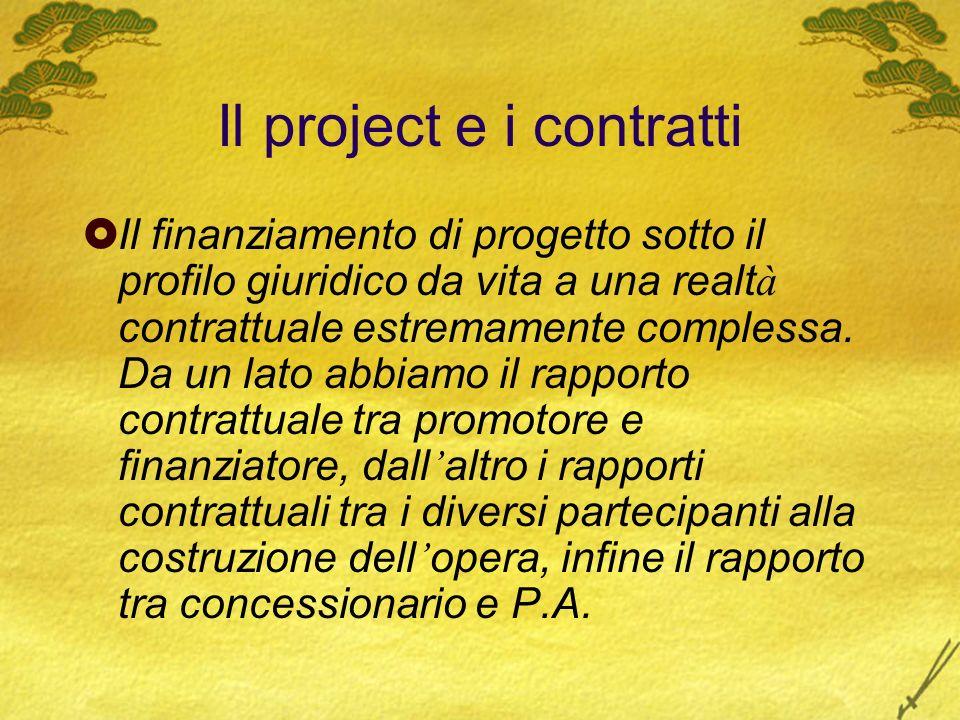 Il project e i contratti Il finanziamento di progetto sotto il profilo giuridico da vita a una realt à contrattuale estremamente complessa. Da un lato