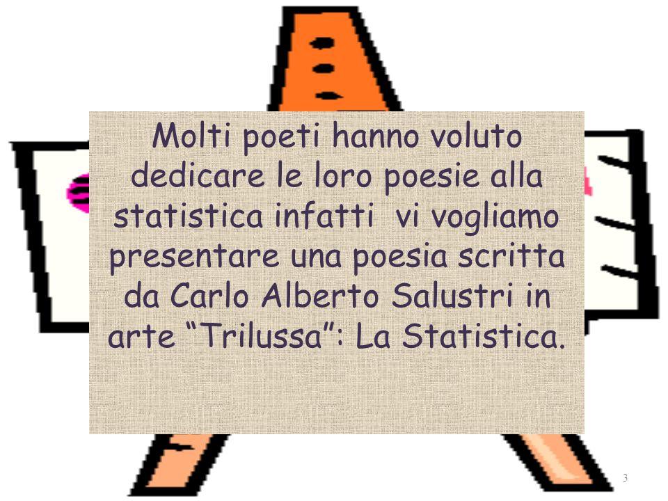 Molti poeti hanno voluto dedicare le loro poesie alla statistica infatti vi vogliamo presentare una poesia scritta da Carlo Alberto Salustri in arte Trilussa: La Statistica.