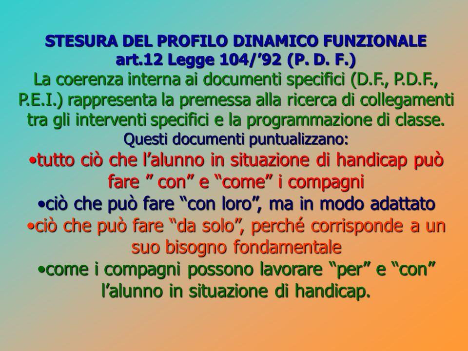 STESURA DEL PROFILO DINAMICO FUNZIONALE art.12 Legge 104/92 (P. D. F.) La coerenza interna ai documenti specifici (D.F., P.D.F., P.E.I.) rappresenta l