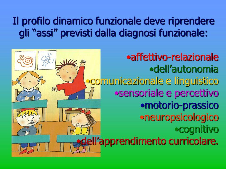 Il profilo dinamico funzionale deve riprendere gli assi previsti dalla diagnosi funzionale: affettivo-relazionaleaffettivo-relazionale dellautonomiade