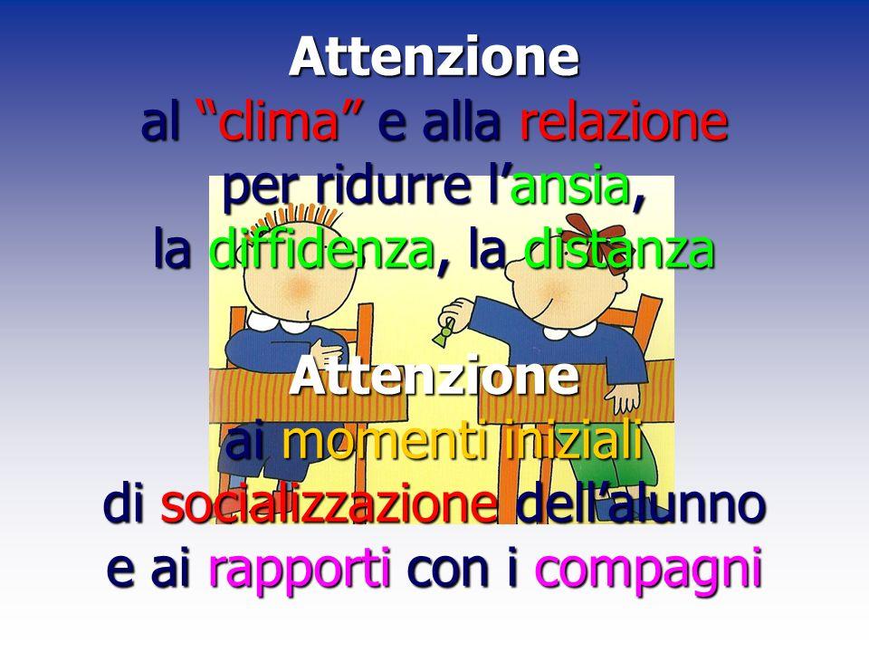 Attenzione al clima e alla relazione per ridurre lansia, la diffidenza, la distanza Attenzione ai momenti iniziali di socializzazione dellalunno e ai