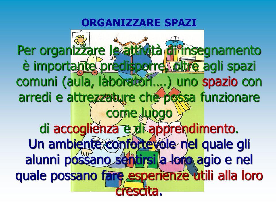 ORGANIZZARE SPAZI Per organizzare le attività di insegnamento è importante predisporre, oltre agli spazi comuni (aula, laboratori….) uno spazio con ar