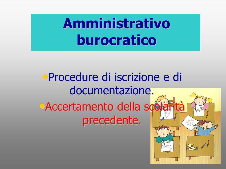 Amministrativo burocratico Procedure di iscrizione e di documentazione. Accertamento della scolarità precedente.