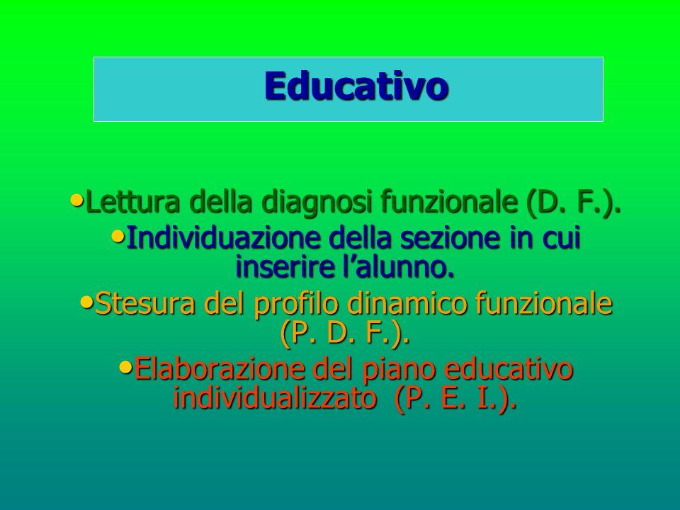 Educativo Lettura della diagnosi funzionale (D. F.). Individuazione della sezione in cui inserire lalunno. Stesura del profilo dinamico funzionale (P.