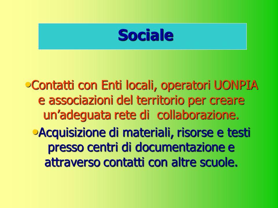 Sociale Contatti con Enti locali, operatori UONPIA e associazioni del territorio per creare unadeguata rete di collaborazione. Acquisizione di materia
