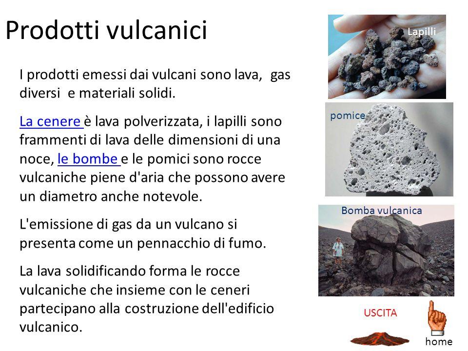 Prodotti vulcanici I prodotti emessi dai vulcani sono lava, gas diversi e materiali solidi. La cenere La cenere è lava polverizzata, i lapilli sono fr