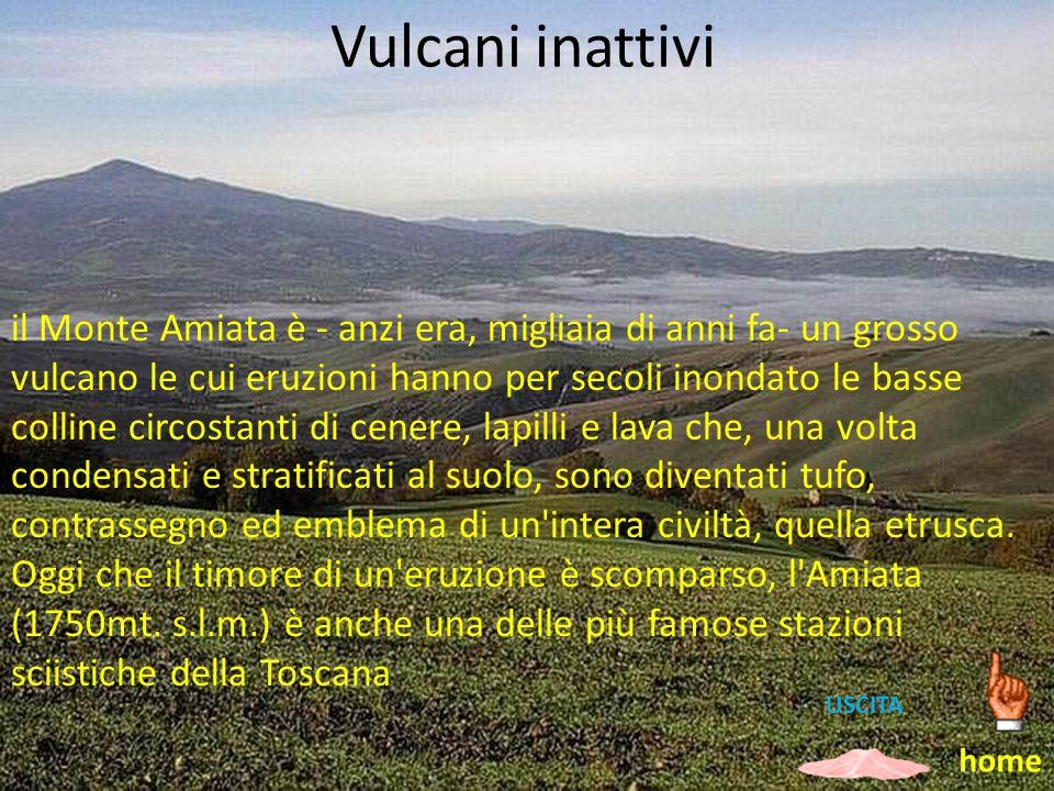 Vulcani inattivi il Monte Amiata è - anzi era, migliaia di anni fa- un grosso vulcano le cui eruzioni hanno per secoli inondato le basse colline circo