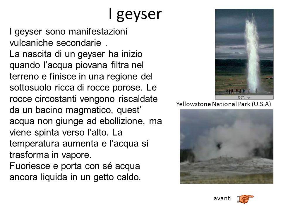 I geyser I geyser sono manifestazioni vulcaniche secondarie. La nascita di un geyser ha inizio quando lacqua piovana filtra nel terreno e finisce in u