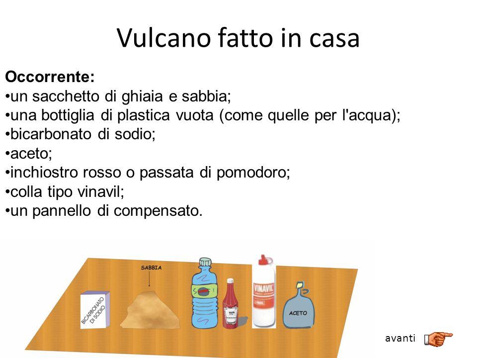 Vulcano fatto in casa Occorrente: un sacchetto di ghiaia e sabbia; una bottiglia di plastica vuota (come quelle per l'acqua); bicarbonato di sodio; ac