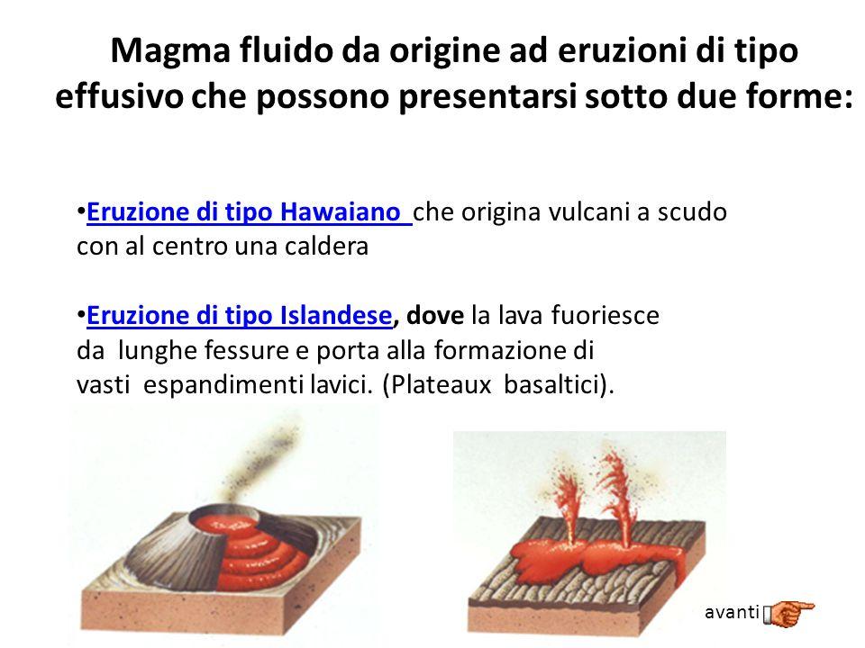 Magma fluido da origine ad eruzioni di tipo effusivo che possono presentarsi sotto due forme: Eruzione di tipo Hawaiano che origina vulcani a scudo co